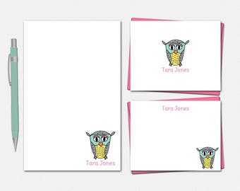 Personalized Owl Stationery Set - Owl Notepad - Owl Note Cards - Gifts for Women - Owl Gifts - Cute Stationery for Her - Owl Stationery