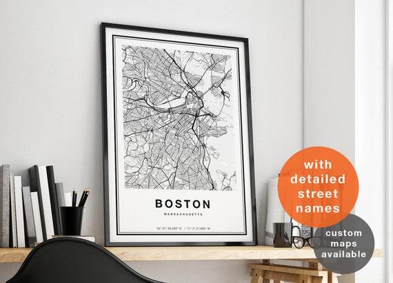 Boston Map Boston City Map Boston Print Boston Poster Map