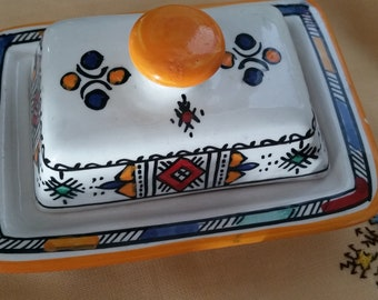 Moroccan butter Dish with Cover. Hand Painted