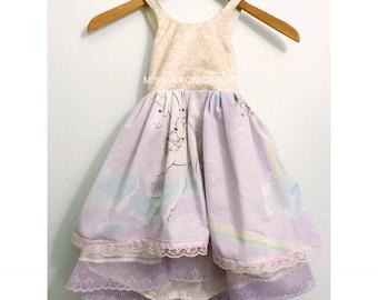 Lavender Pastel Unicorn Ruffle bohemian layered  boho flower girl rustic junior bridesmaid toddler maxi high low dress ready to ship