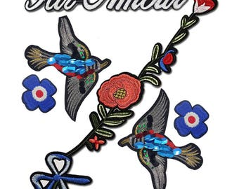 Embroidered Flowers Birds Par Amour Patches Appliques, Set Mix of Decorative Appliques