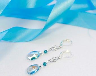 Swarovski crystal earrings, teardrop crystal earrings, blue crystal earrings, silver earrings, handmade earrings, swarovski jewelry
