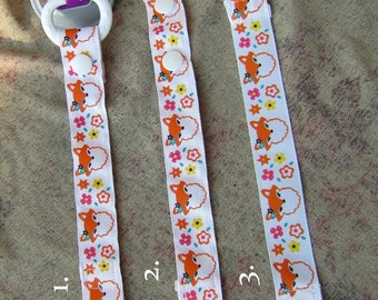 Handmade Pacifier Clip Girlie Fox w/Flowers on White