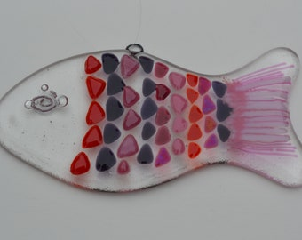Red, PInk, and Purple Fused Glass Fish Sun Catcher