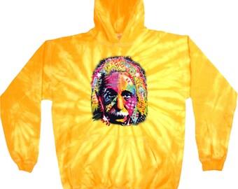 Men's Funny Hoodie Einstein Tie Dye Hoody 18486NBT4-8777