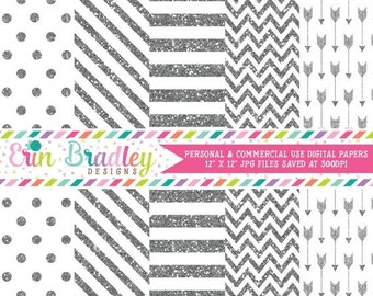80% OFF SALE Silver Glitter Digital Paper Pack Commercial Use Digital Scrapbook Papers Polka Dots Stripes Chevron and Arrows