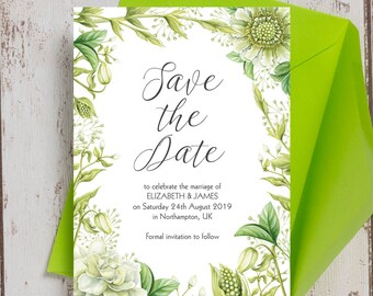 Personalised Greenery Wedding Save the Date cards
