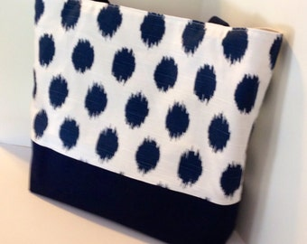 Ikat Dot Tote . Large size . Large beach bag . Navy Blue Ikat Dot . polka dot tote . bridesmaid gift . teacher gift . wedding gift