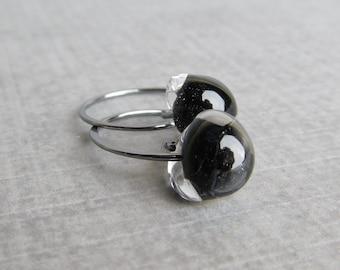Small Black Hoops Oxidized Silver, Black Earrings, Glass Drop Earrings Black Glass, Sterling Silver Oxidized Earrings, Small Dark Wire Hoops