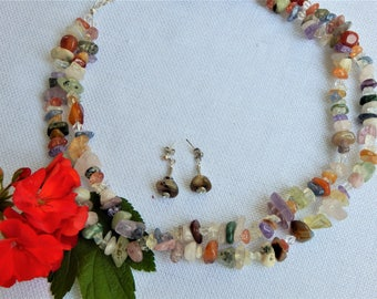 Multi-colored Stone Necklace (N66)