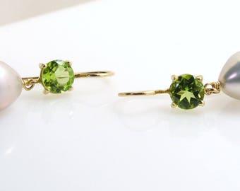 Peridot & Pearl earrings