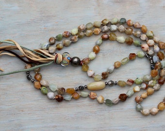 ZenHappy Heirloom Mala Bead Necklace with Tassel - Faceted Jade, Yellow Opal, Pyrite and Handmade Lampwork; Boho Necklace; 108 Bead Mala