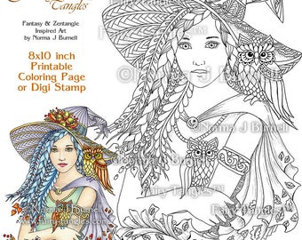 Witchy Woman & Owl Friends Fairy Tangles Printable Coloring Book Pages Adult Coloring Book Sheets by Norma J Burnell Halloween Witch Owl