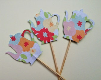 Tea - Pastel Floral Teapot/Coffee Pot Cupcake Toppers - Set of 12