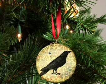 "Damask  Black Bird Crow Image Christmas Tree 2.25"" Ornament"