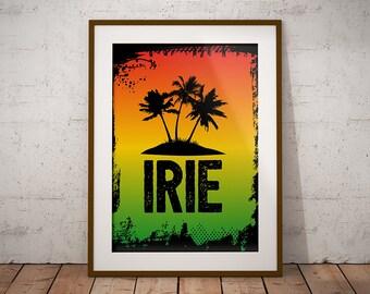 Jamaica Irie Print, Irie Vibes Poster, Jamaica Palm Trees Print, Jamaica Travel Art Printable, Rasta Home Decor, Rastafarian Poster Print
