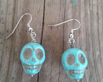 Turquoise Skull Earrings. Women's Gifts 5 dollars. Gifts under 10 dollars. Affordable Jewelry.