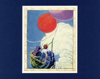 Adorable 1918 Children Littleboy Catches his Red Balloon Vintage Print