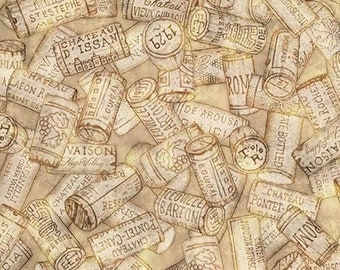 Quilting Treasures Tan Cork Perfectly Vintage Wine Bottle Glass Fabric 25907-E BTY