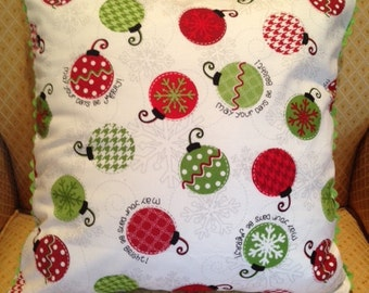 Green Red and White Holiday Ornaments Pillow Cover