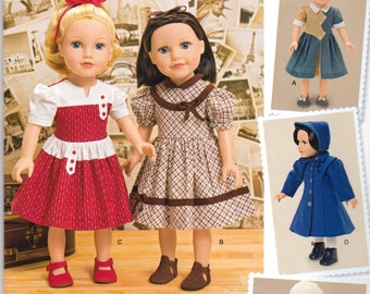 """New SIMPLICITY  DOLL CLOTHES 2014 Pattern #1245/j0440 Vintage 40's Doll Clothes for 18"""" Doll New UNcut"""