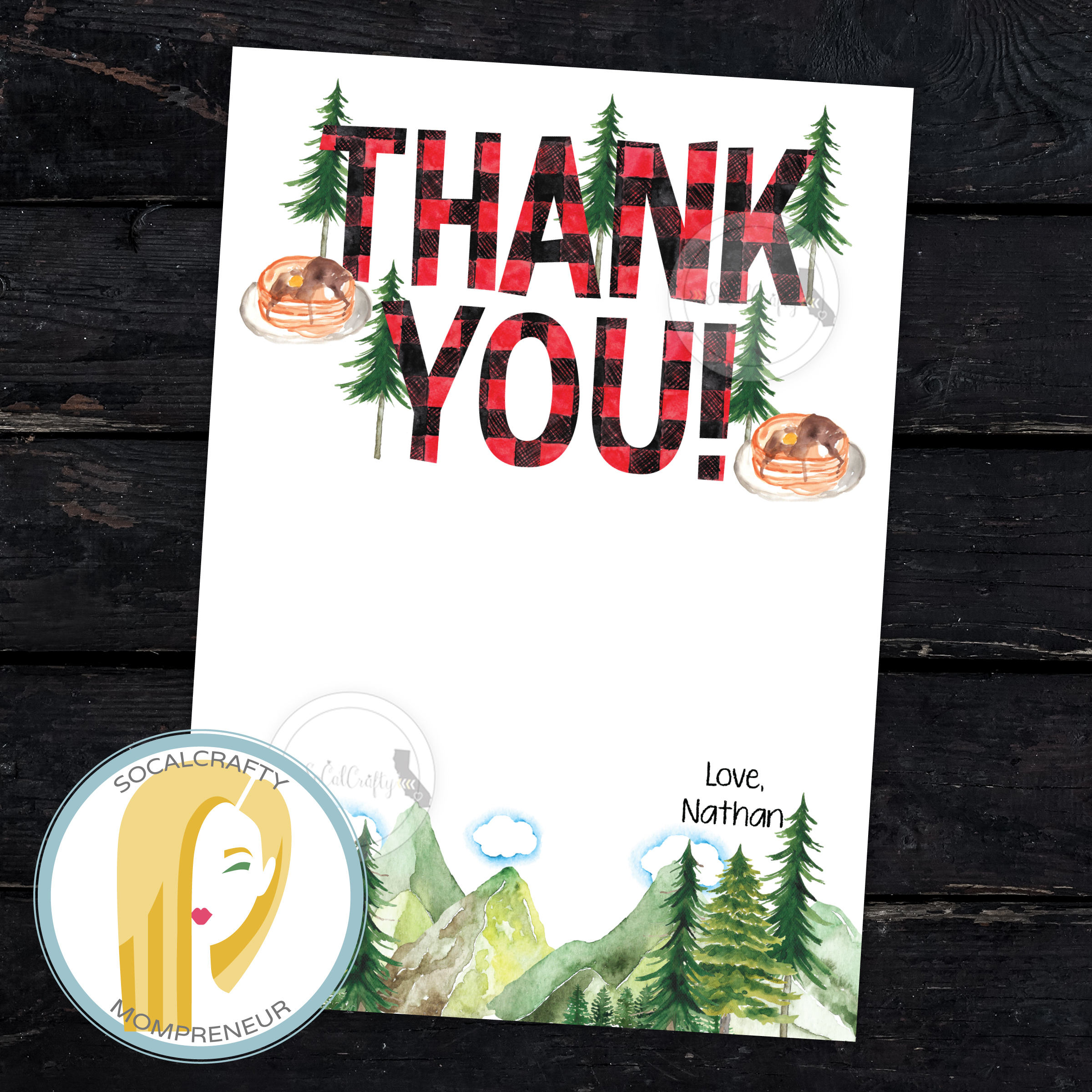 Lumberjack Birthday Party Thank You Card Buffalo Plaid Thank