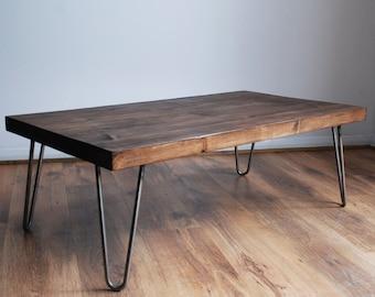 Rustic Vintage Industrial Solid Wood Coffee Table-Bare Metal Hairpin Legs, Dark