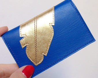 Decorated with blue feather pattern leather wallet gold stitched Japanese fabric lining