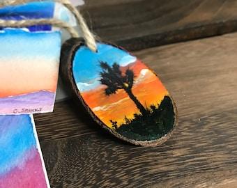 Mini Handpainted Wood Slice | Joshua Tree California | Sunset | Mojave Desert | Painted Wood