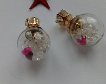 EARRINGS with ball and pink inside
