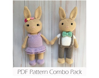 Amigurumi Bunny Crochet Pattern - PDF Instant Printable Download- Boy and Girl Version Combo Pack