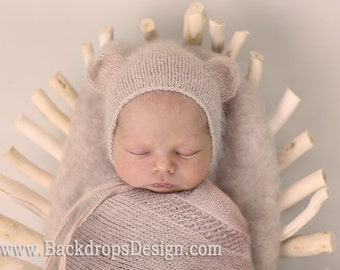 Newborn Angora Bear Bonnet,Blanket and teddy  bear toy set  Photography prop newborn hat Photography props