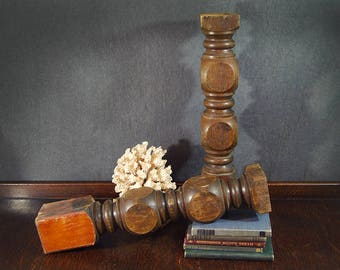 Pair Wood Pillars Antique Wood Spindle Post Architectural Salvage Wooden Baluster Candlestick