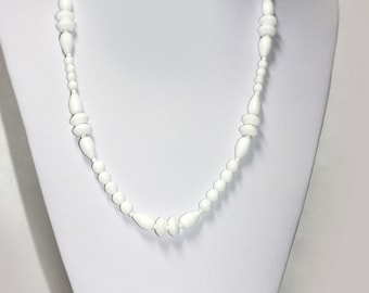 Vintage LONG WHITE Glass Bead Necklace