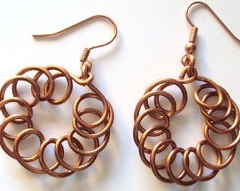 Copper Coiled Dangles Earrings