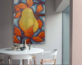 """pear painting dining room art pear art contemporary artwork on unstretched canvas 64"""" by Ksavera large wall art"""