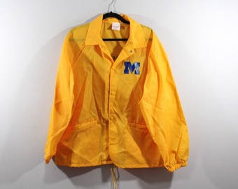 90s New University of Michigan Wolverines Football Full Button Spell Out Nylon Windbreaker Jacket Mens XL, Vintage Michigan Wolverines Coat