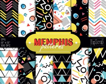 """Memphis digital paper : """"Memphis Patterns"""" Memphis 80's style abstract geometry shapes, Memphis 1980 patterns, Circles, checkered, triangles"""