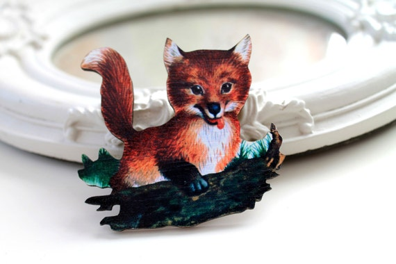 Fox wooden brooch cute woodland