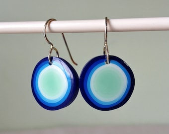 Earrings - Cobalt Mint Dots in polymer clay