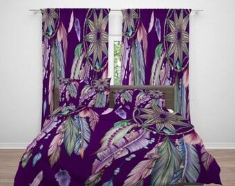 Purple Boho Dreamcatcher Comforter or  Duvet Cover, Twin  Full Queen King,  Birds , Window Curtains