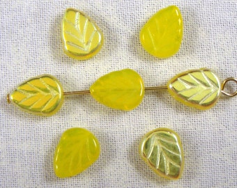 Lemon Yellow Opal AB Glass Leaf Beads, 25
