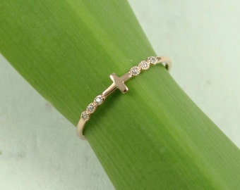 Cross Ring, Rose Gold Cross Ring, Cross, CZ Ring, Pinky Ring, Dainty Ring, Knuckle Ring, Small Ring
