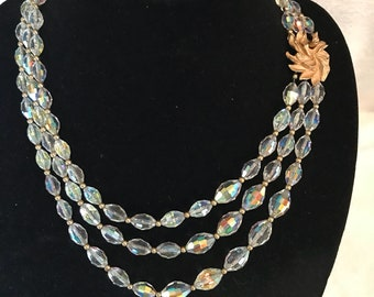 Napier Faceted Crystal Triple Strand Statement Necklace