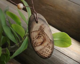 Fashion owl  jewelry woodburn 7style: Owl pendant necklace, wood Owl necklace charm. Gypsy soule jewelry owl charm necklace. Wiccan necklace