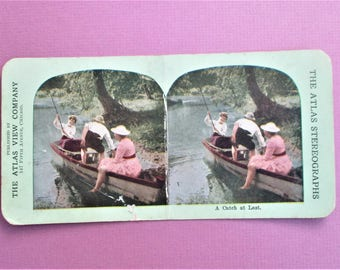 A Catch at Last Rare Antique Atlas Stereograph Card in Color Atlas View Company Chicago Vintage Steroview Card Collectible Vintage Photo