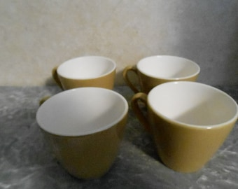 1950's Set of 4 Olive & White China Coffee Cups