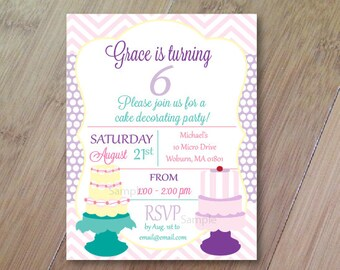 Cake Party, Set of 10 Printed Baby Shower or Birthday Invitations, Let's Eat Cake, Cake Decorating Party