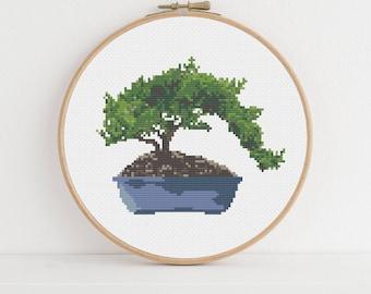 Juniper Bonsai Tree Counted Cross Stitch Pattern
