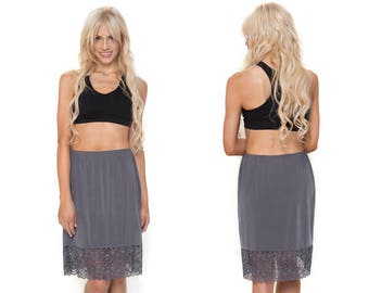 Charcoal Lace Dress Extender Slip